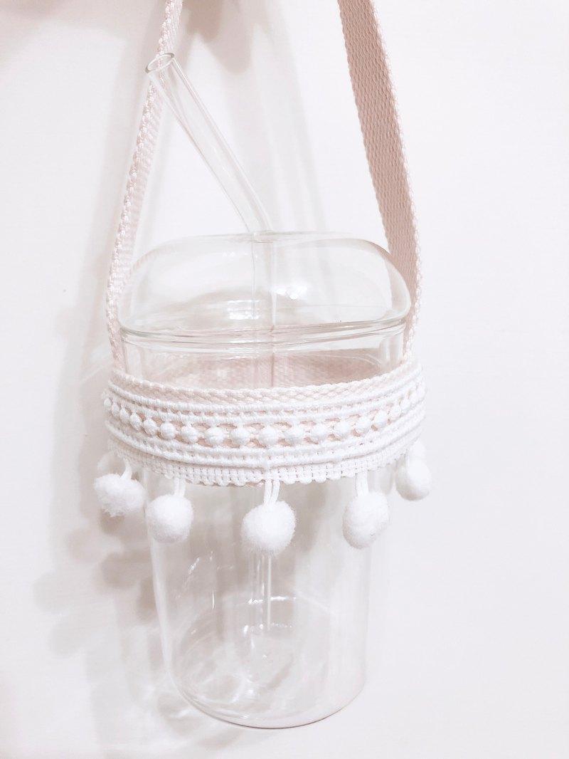 蕾絲毛球飲料提袋