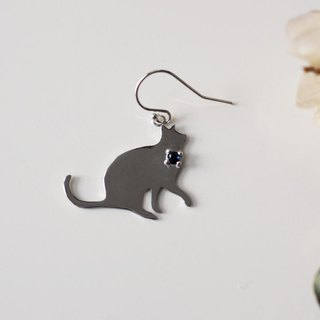Cats Silhouette Earrings Sapphire Ear