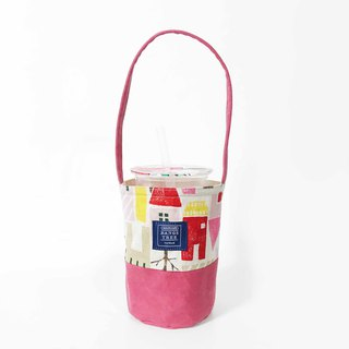 Drink bag - pink small house