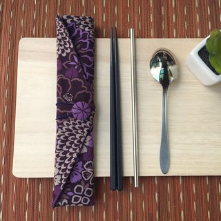 Adoubao-Chopsticks set package - purple & wind print