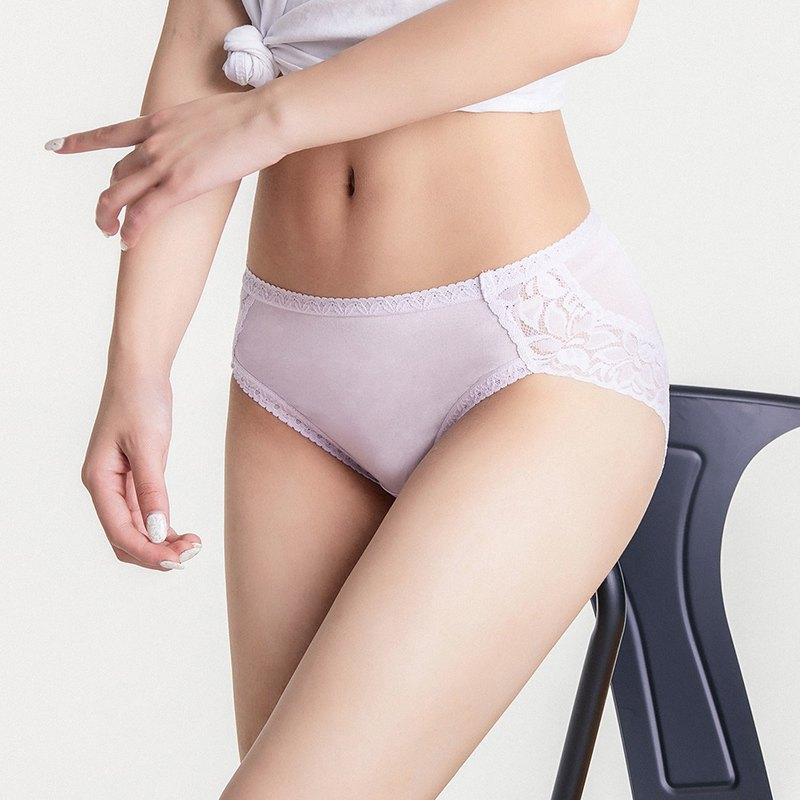Olivia silk 42-pin lace mid waist bag hip high fork triangle panties