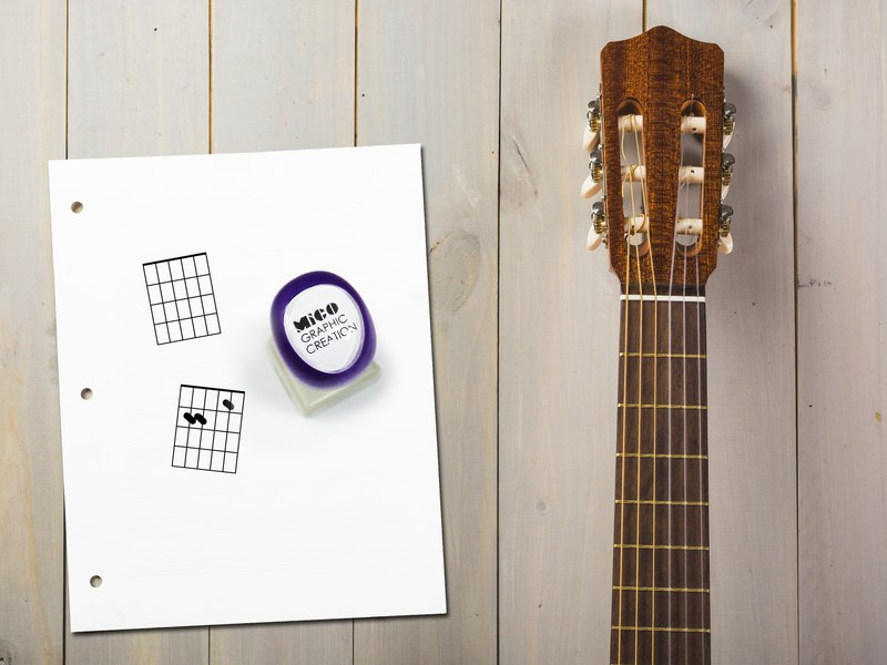 Self ink stamp, Guitar chord stamp, Music stamp