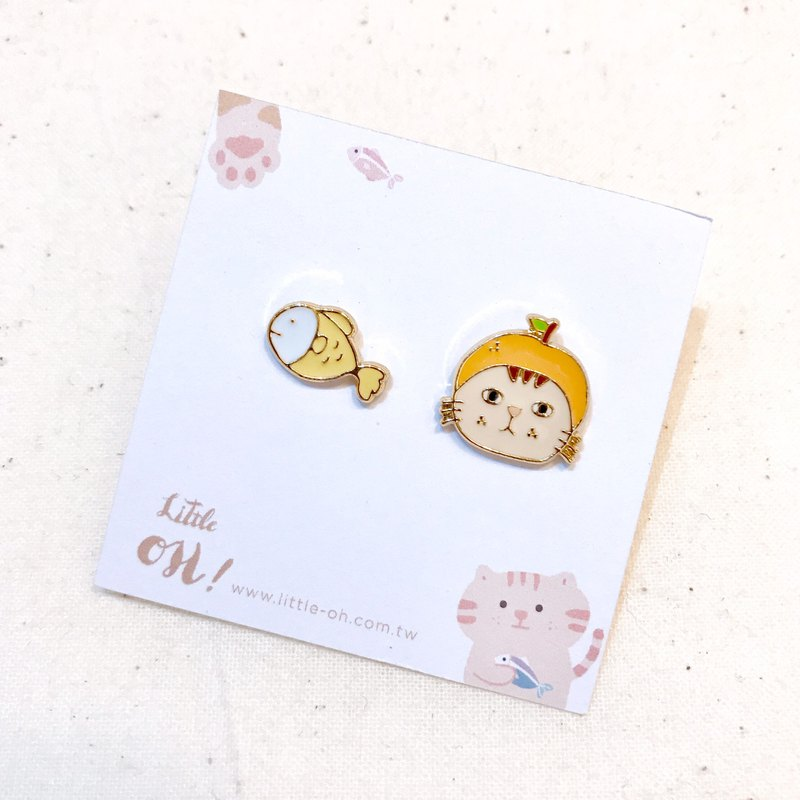 Orange Cat - Hot Sale with Ear Pins / Ear Clips