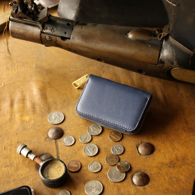 日本製造 硬幣錢包 牛皮 藏青色 Weinheimer made in JAPAN handmade leather wallet coincase