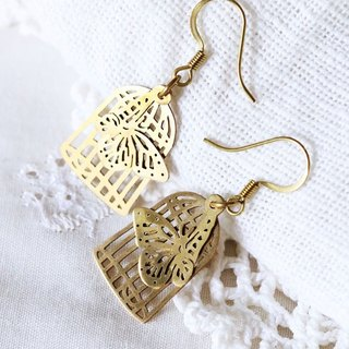 Graphic Butterfly Birdcage earring / Brass Earring / Butterfly earring / Linen Jewelry /Everyday Earring