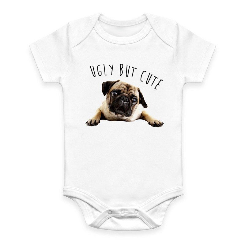 UGLY BUT CUTE PUG white BABY One-Piece