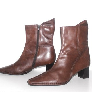 Women's Vintage NEVER CROSS Brown Real Leather Heel Ankle Boots UK7 EU41