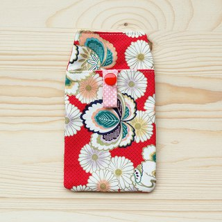 Japanese style pill chrysanthemum pocket pencil bag _ red / with certificate bag