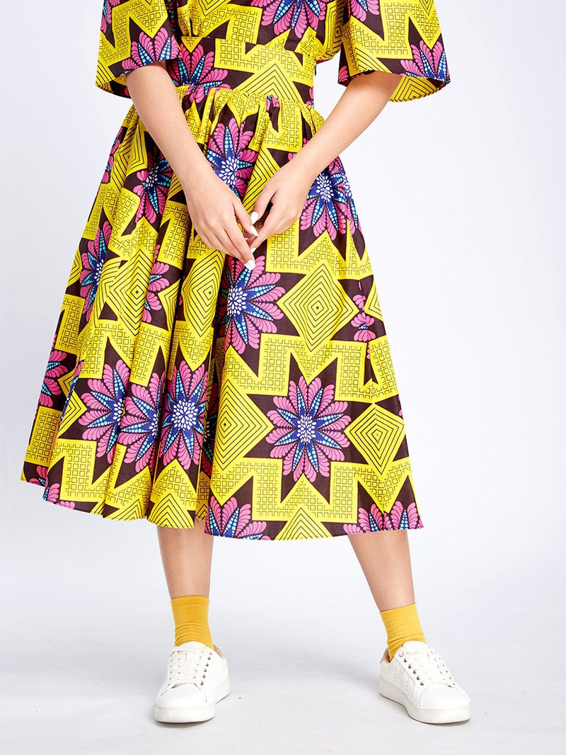 Midi Floral A Line Skirt Yellow