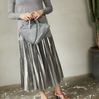 ZUO  Metallic Silver Pleated Skirt