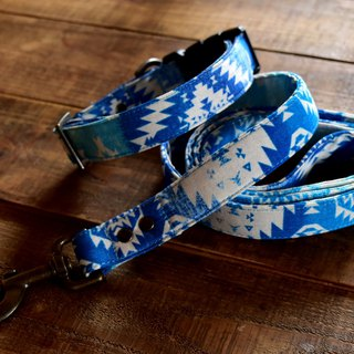 Ombre Southwestern BOHO Dog Collar - ocean blue - Antique brass