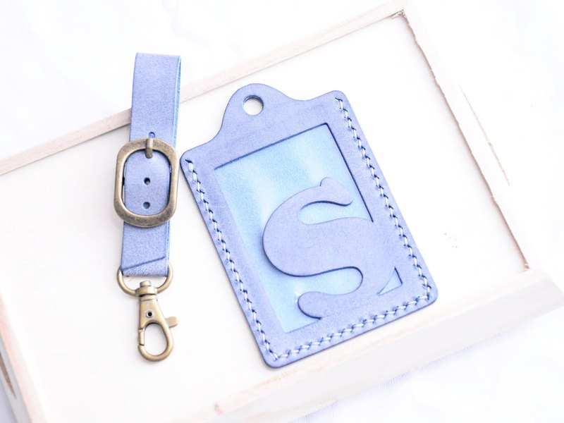 【White Wax Blue MARINE - First Letter A to Z English Letter Bag Checks】 Good Stitch Leather Bags Free Press Hand Handle White Wax Wax Wax Bread Card Holder Card Holder Card Holder Baggage Trip Travel Guardware Clip Clip Simple and Practical Italian Leather