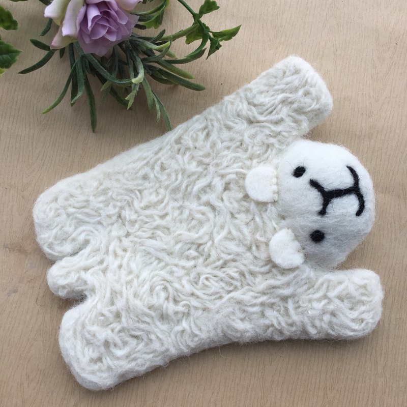 Handmade cute animal wool felt absorbent coaster lamb