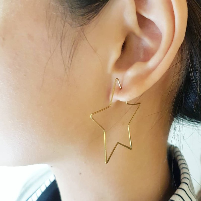 Copper hand made _ star shape copper earrings