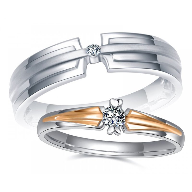 Diamond with 316L Surgical Steel Ring Casting Jewelry for Couple