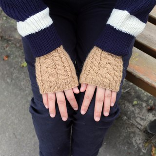 Handmade - apricot tea - knit hand wrist gloves