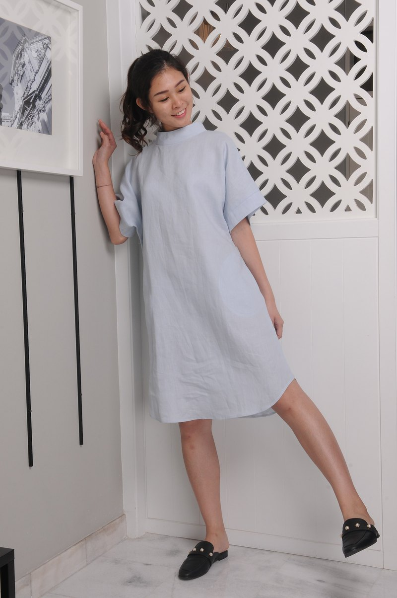 Linen Dress / Raised Neckline Linen Dress / Short Sleeved/ EP-D658