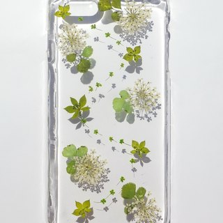 Handmade phone case, Pressed flowers phone case, iPhone 6 plus, Lace flowers