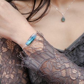 Personalized elongated labradorite bracelet