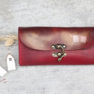 Accordion vegetable tanned leather long wallet - Lisbon Story - Burgundy color
