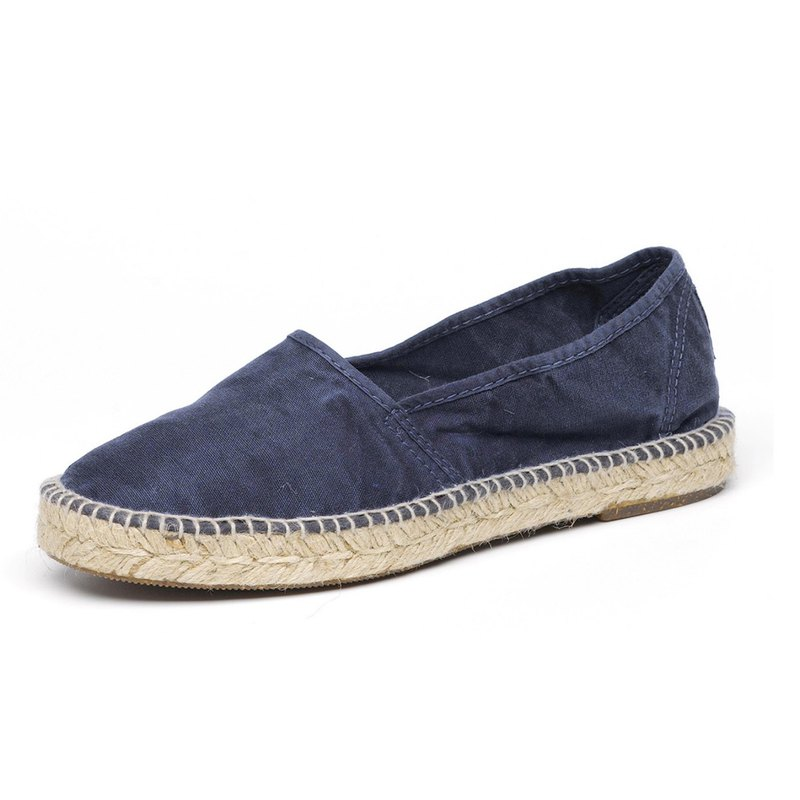 Spanish handmade canvas shoes / 625E straw shoes / women's / 677 navy blue