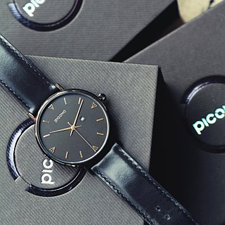 【PICONO】Amour collection black leather strap couple watch  / BU-8301