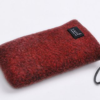 Felt pouch / autumn leaves Lidded felt pouch / red