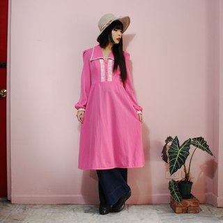 [Vintage dress] (British standard) pink lace neck cuff design long-sleeved vintage dress (Made in England)