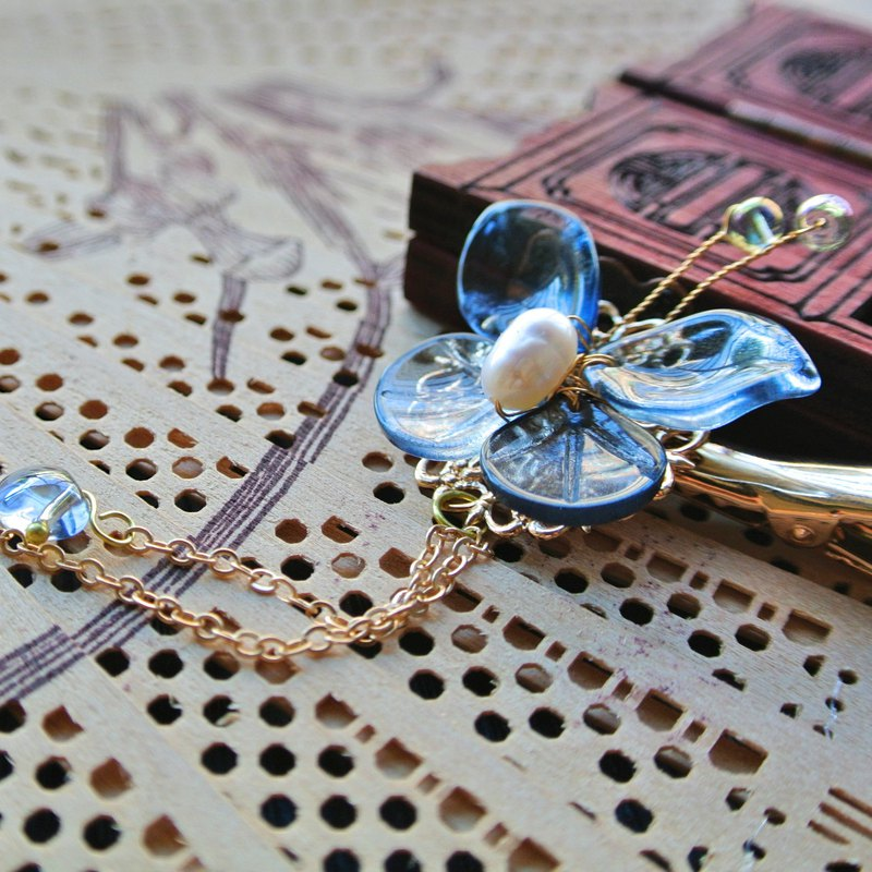 A pair of Zhuang Zhou hair clips (ink blue + silver powder) -18K gold