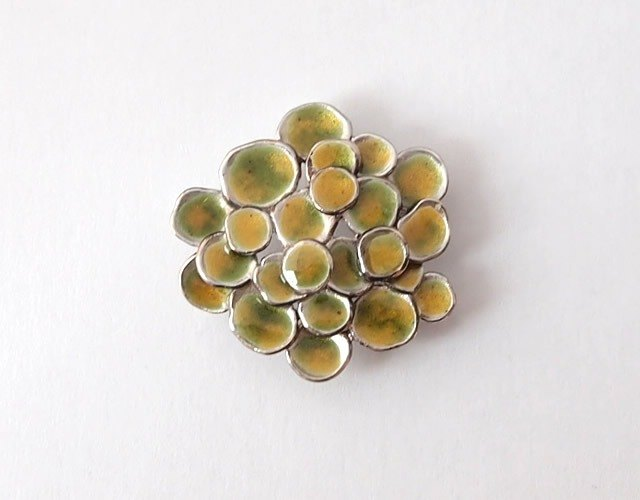 Cloisonne brooch Silver925 yellow-green-yellow enamel glass mori
