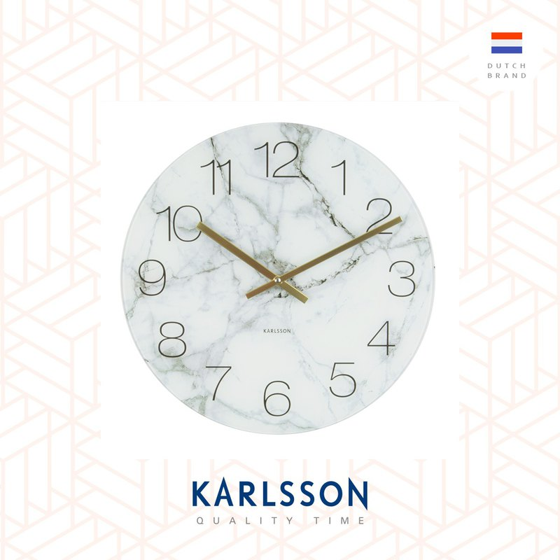Karlsson, 17cm Table/Wall clock Glass Marble white small