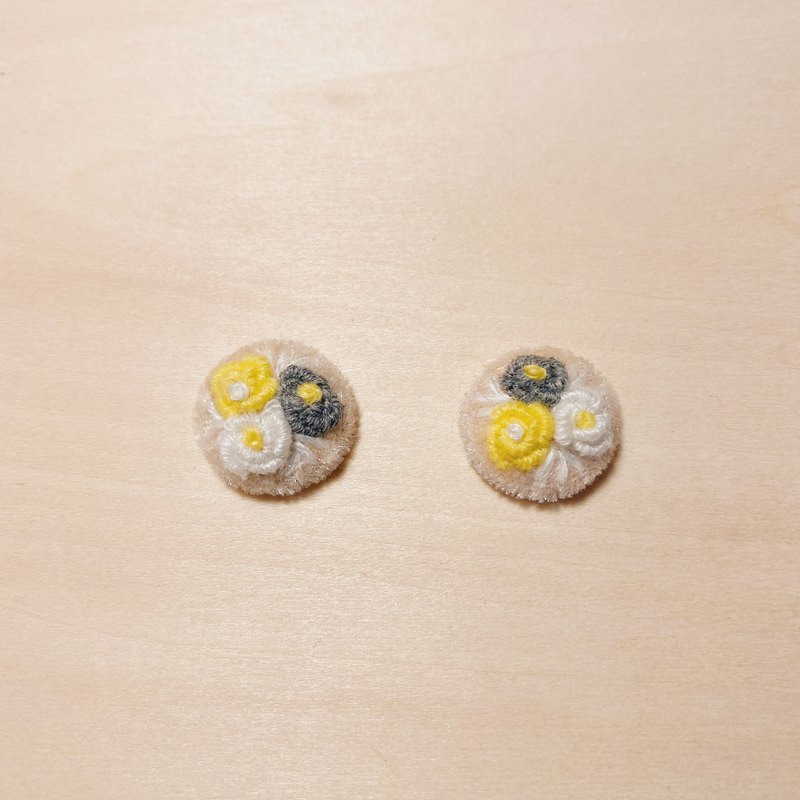 Vintage Apricot Embroidered Flower Ball Earrings