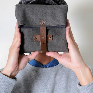 MOSS-hand made leather canvas folding camera / storage bag