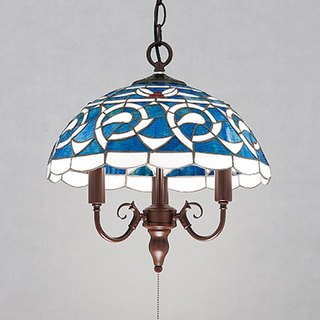 Tiffany hand-painted glass dome chandelier - blue