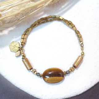 VIIART. The month of gold. Tiger eye gold coral brass bracelet