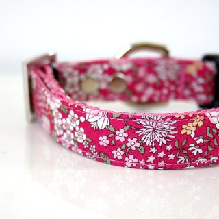 Rose Pink petit floral Dog Collar - Silver