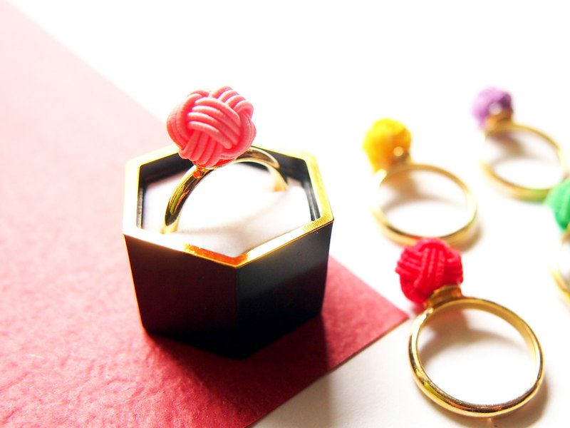 japanese style ring / mizuhiki / japan / accessory / compact / flower