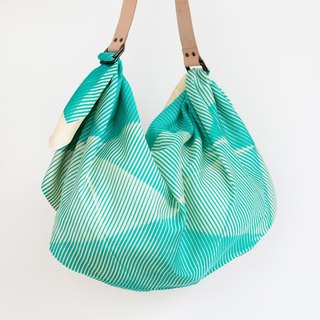 Folded Paper Green Furoshiki & Tan Leather Strap Set