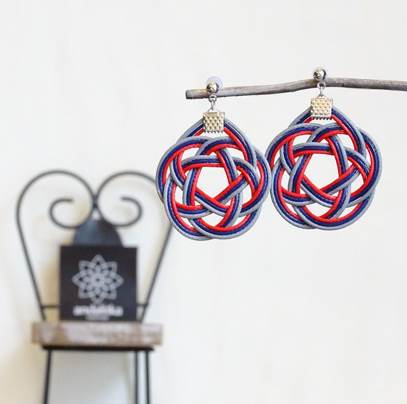 Cage knot plated white gold earrings Greyish Marine