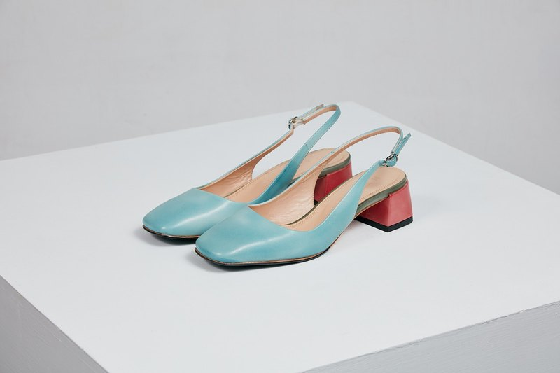 H THREE classic square after the ankle strap shoes / water blue / rough with / retro