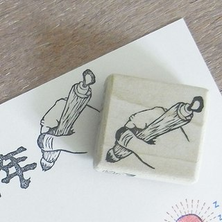 "Handmade rubber stamp ""Hand with a brush"""