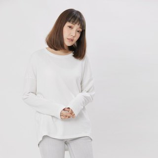 Plain French Terry Long Sleeves T-shirt / White