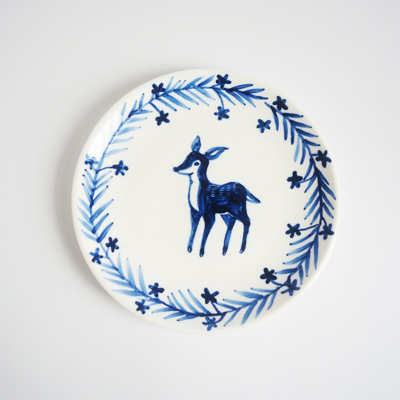 Hand-painted 6-inch cake tray plate - Forest friends Fawn
