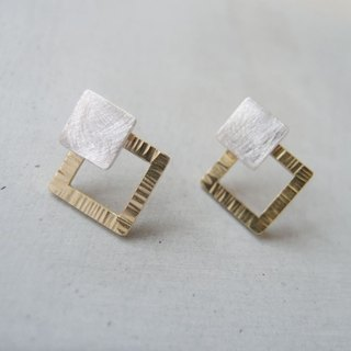 Geometric square bimetallic earrings