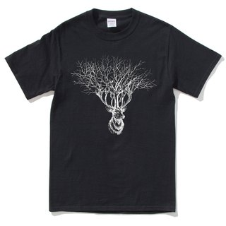 Deer Tree (spot) short-sleeved t-shirt black deer tree elk design Wenqing own brand animals