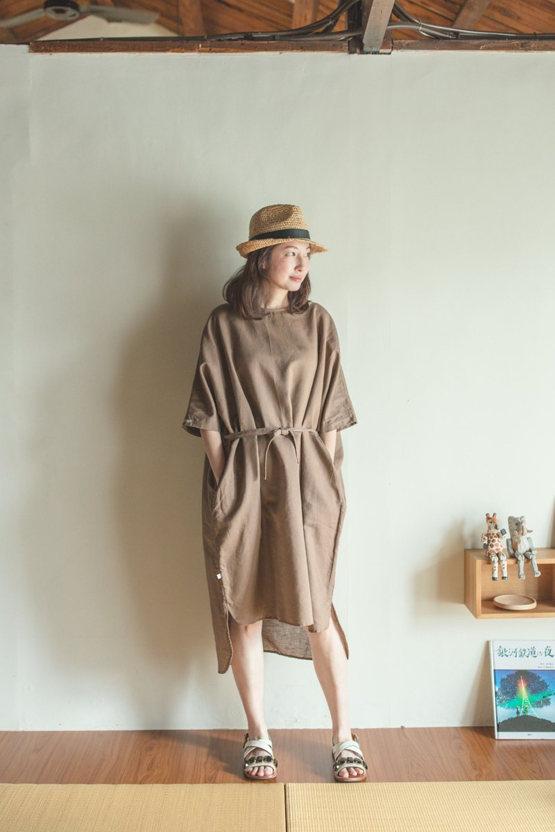 Taiwanese goat cotton and linen dress brown
