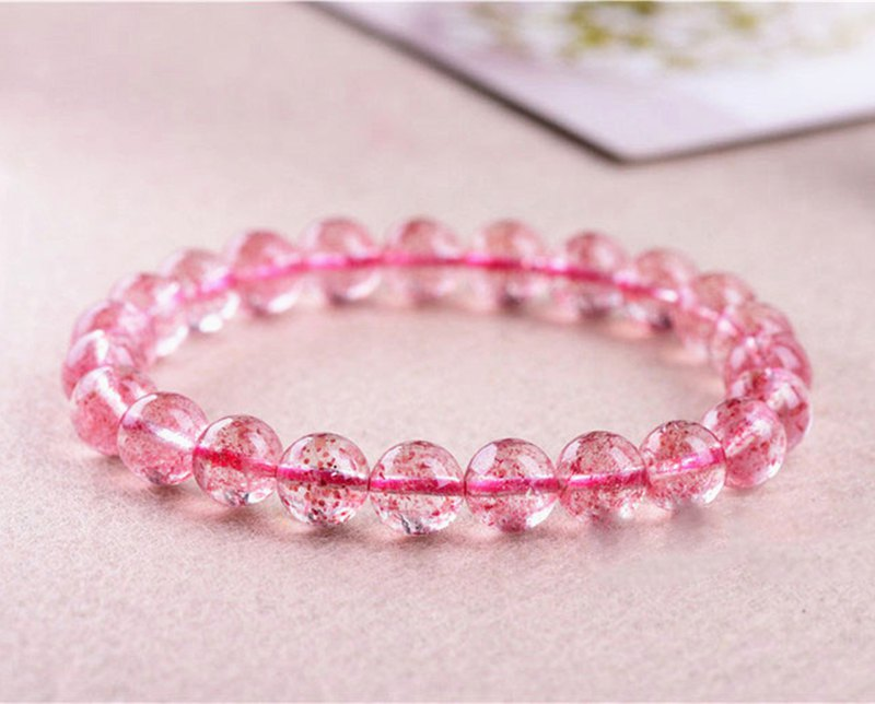High grade 7A rose grass natural strawberry crystal pink bracelet crystal clear