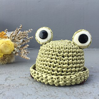Woven straw hat - frog shape / pet accessories / dog / cat