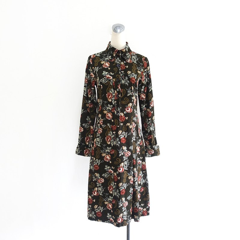 │Slowly│ dark green corduroy Amoeba - vintage dress │ vintage. Vintage. Arts