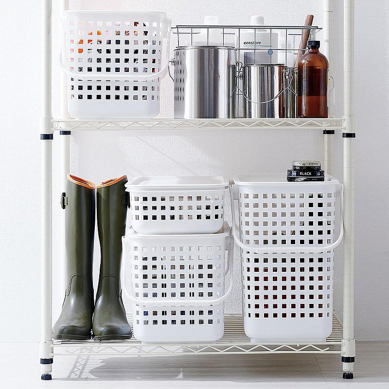 Japan like-it narrow multifunctional stackable storage basket with lid storage basket (three-tier group)